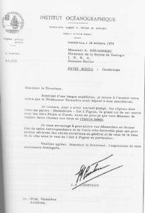 1974 Lettre de recommandation de Cousteau
