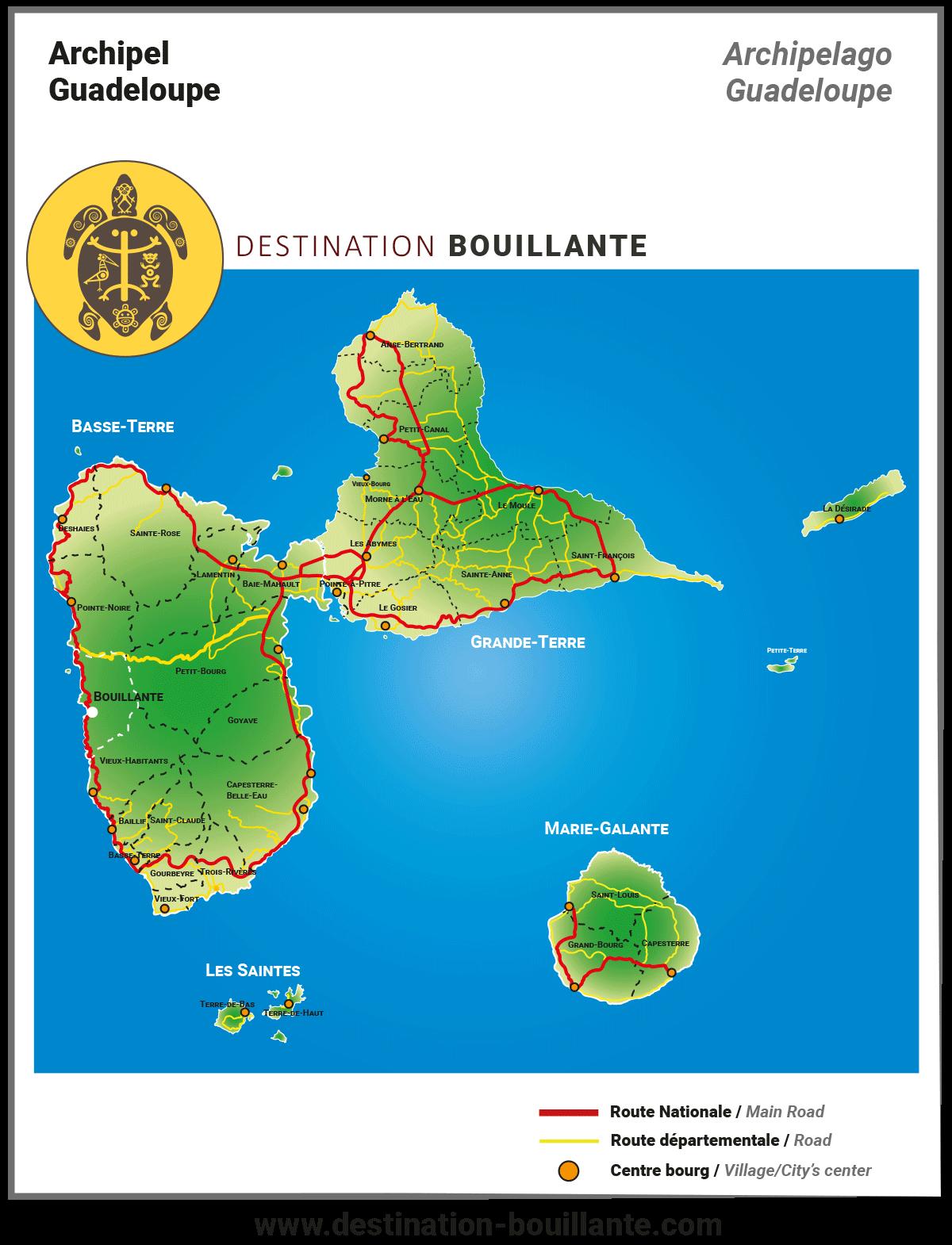 Carte des communes de la Guadeloupe
