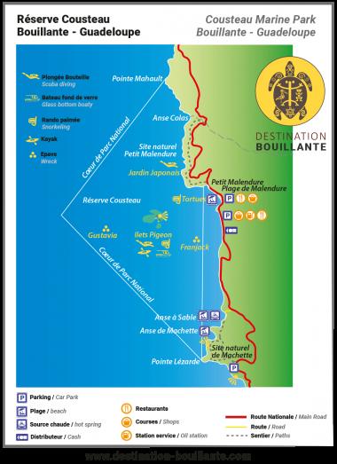 Télécharger le plan de la Réserve Cousteau Bouillante