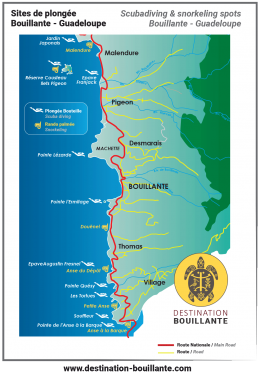 Carte des sites de plongée et snorkeling Bouillante